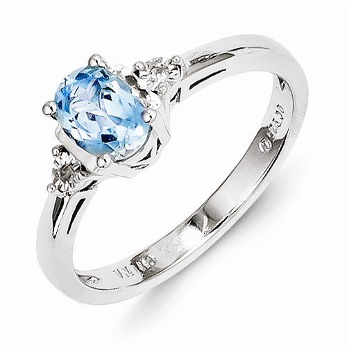 Solid 925 Sterling Silver Diamond & Light Highest Quality December Simulated Birthstone Blue Simulated Topaz Engagement Ring (.01 cttw.) (2mm) Sonia Jewels 749871773