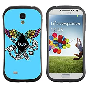 Hybrid Anti-Shock Bumper Case for Samsung Galaxy S4 / Cool Abstract Wings