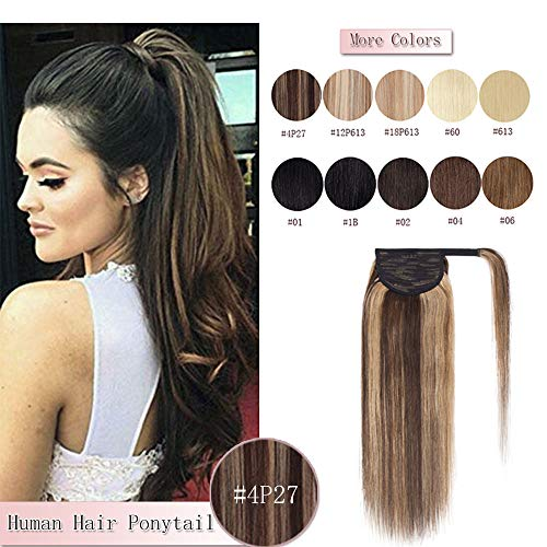 - 100% Remy Human Hair Ponytail Extension Wrap Around One Piece Hairpiece With Clip in Comb Binding Pony Tail Extension For Girl Lady Women Long Straight #4P27 Medium Brown&Dark Blonde 18'' 90g