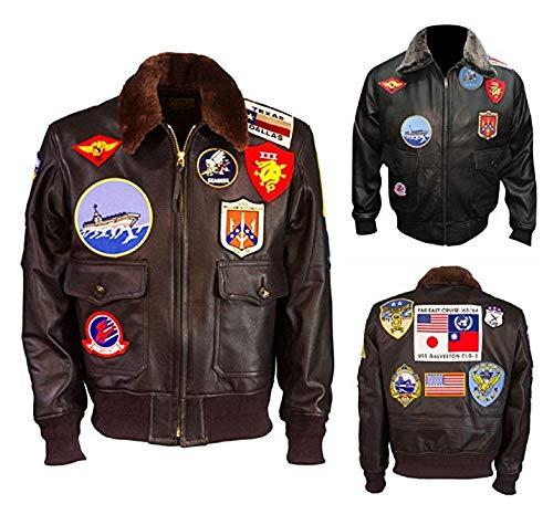 Top Gun Tom Cruise Flight Bomber Jet Pilot Leather Jacket Black]()