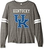 NCAA Kentucky Wildcats Betty Long Sleeve Tri-Blend Football Jersey T-Shirt, Large, Tri Grey/White