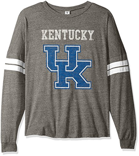 NCAA Kentucky Wildcats Betty Long Sleeve Tri-Blend Football Jersey T-Shirt, Small, Tri Grey/White