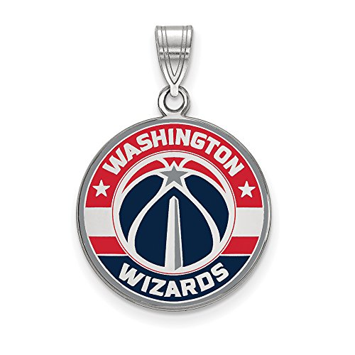 NBA Washington Wizards Large Logo Pendant in Rhodium Plated Sterling Silver by LogoArt