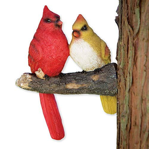 Bits and Pieces - Pair of Cardinals Tree Hugger - Animal and Bird Tree Sculpture Outdoor Décor Garden ()