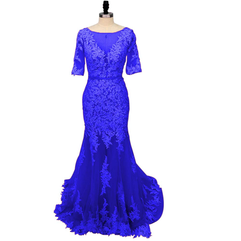 bluee yuanbaokj Women's Mermaid Party Dress Backless Half Sleeves lace Appliques Evening Homecoming Gowns