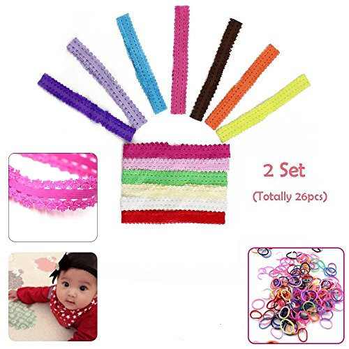 Baby Girls Lace Headband Headwrap Hair Bands, 26 Pcs Newborn Infant Elastic Head Wraps Hair Accessories Babies Clothes Outfit Set for Bows Flower ()