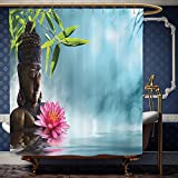 Wanranhome Custom-made shower curtain Zen Meditation Decor Collection Water Lily Flowers Spa Nature and Feng Shui Calm Water Picture Pattern Set Sky Blue Pink For Bathroom Decoration 36 x 72 inches