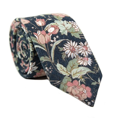 DAZI Men's Skinny Tie Floral Print Cotton Necktie, Great for Weddings, Groom, Groomsmen, Missions, Dances, Gifts. - Floral Tie Print