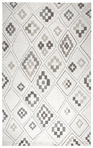 Rizzy Home | Caterine Collection | Wool | Cream/Gray/Rust/Blue Geometric Area Rug | 8' x 10' from Rizzy Home