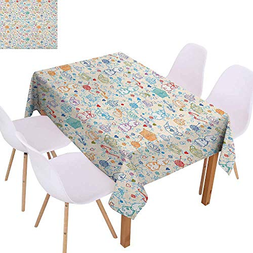 Washable Table Cloth Tea Party Pattern with Cute Pastime Things Baby Bunny Tea Glasses Balls of Yarn and Needles Easy to Clean W60 xL102 Multicolor]()