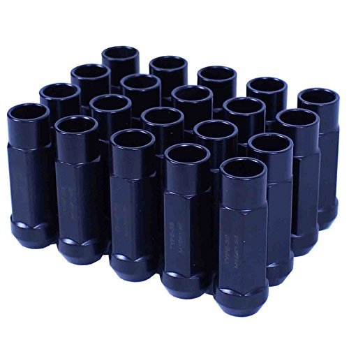 Godspeed Type 3-X Black 12mm x 1.25 Thread Size Cold Forged SCM-435 Steel Black Finish Open End Lug Nut, (Pack of 20)