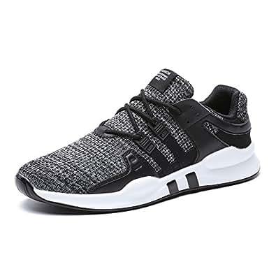 HUSK'SWARE Men's Running Shoes Breathable Sneakers Sport Shoes Lightweight Sneakers Walking Shoes BlackGrey