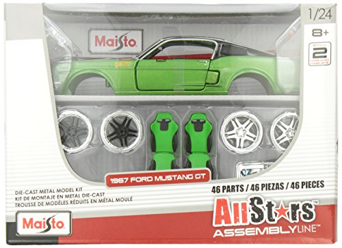 Maisto 1:24 Scale All Star Assembly Line 1967 Ford Mustang GT Diecast Model Kit - Colors May (Mustang Model Kit)