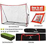 WhiteFang Golf Net | 4 in 1 Golf Practice Set 10x7ft Include Golf Chipping Net|Golf Hitting Mat|Golf Balls with Portable Carry Bag for Backyard/Indoor/Outdoor (4 in 1)