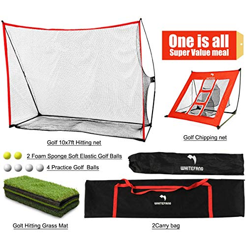 WhiteFang Golf Net 4 in 1 Golf Practice Set 10x7ft Include Golf Chipping Net Golf Hitting Mat Golf Balls with Portable Carry Bag for Backyard Indoor Outdoor