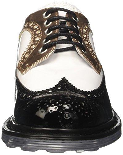 Cult Sabbath Low 491, Zapatos de Cordones Brogue para Mujer Multicolore (Black/White/Pink Gold)