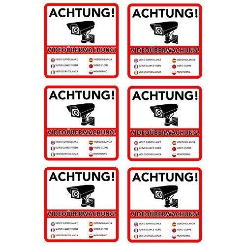 6 Achtung Videouberwachung Premium Aufkleber Schild Sticker