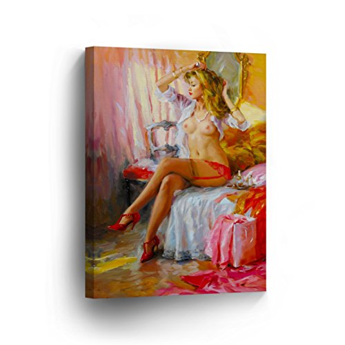 Sexy Blonde Vintage Lady in Red Garter and White Shirt and Hilg Heels Half Naked Nude Woman Girl Oil Painting CANVAS PRINT Art Wall Home Decor Artwork / Ready to - Nude Men Retro