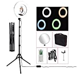 18'' LED Video Ring Light with Mirror, RGB+W Colors Lamp, Stand Tripod, for DSLR, iPhone & Android Smart Phones - Professional Studio Photography Dimmable Lighting Kit for Live Video Makeup & YouTube