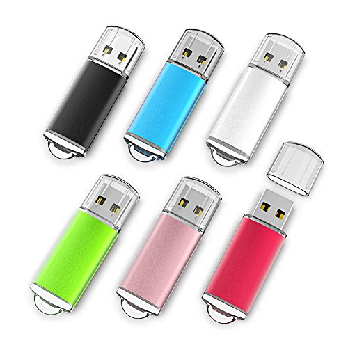 1 Gb Attach Usb - Keathy 6 Pack 1GB USB 2.0 Flash Drive Bulk Drives Memory Stick Thumb Drives Pen Drives Zip Drives 6 Color Black Blue Red Silver Green Gold