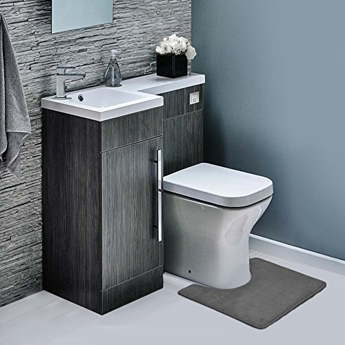 Clara Clark 3-Pack Bath Mat Set – Large, Small and Contour Bathroom Rug Set, Absorbent Memory Foam Bath Rugs, Non-Slip, Thick, Velvet Microfiber Bathrug, Plush Shower, Toilet Bathmats Carpet, Gray