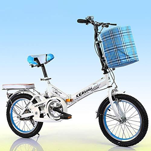 - FJW Unisex Suspension Folding Bike 16 Inch 20 Inch Aluminium Alloy Wheel Hub Student Child Commuter City High-Carbon Steel Bike,White,16Inch