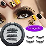 Perfectostore Magnetic Eyelashes 3 Magnets Magnetic Lashes 3 Lash Magnetic Fake Eye Lashes 3D Reusable Soft False Eyelashes No Glue Cover the Entire Eyelids for Natural Look (4 PCS)