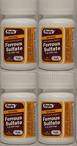 (Ferrous Sulfate FC 325mg (5GR) Generic for Feosol Red Tablets 100 Tablets per Bottle 4 PACK Total 400 tablets )