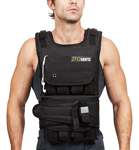ZFOsports 40LBs Adjustable Weighted Vest (Push Ups And Squats For Weight Loss)