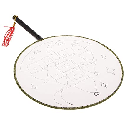 Fityle Round Chinese Ancient Court Hand Fan with Finished Patterns for DIY Coloring Painting, Classic