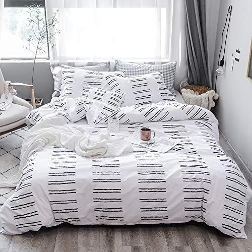 TanNicoor - Geometric Duvet Cover Set,Ultra Soft Hypoallergenic Microfiber Bedding,Black Striped Pattern Printed on White,Teens Boys Girls Bedding Set Zipper Closure Comforter Cover(2pcs, Twin Size)