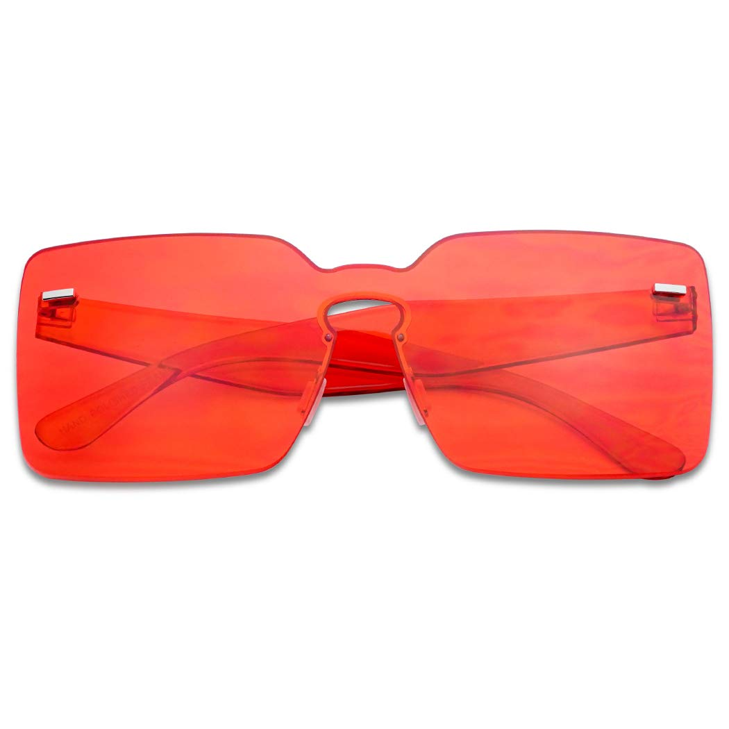 Colorful Bold Oversize One Piece Mono Block Full Shield Rimless Color Sunglasses (Red, Transparent) by SunglassUP