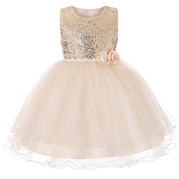 e8381c84335 INCIPHER Flower Girl Dress Sequin Tutu Dresses Pageant Gowns Party Wedding  Dresses (Champagne