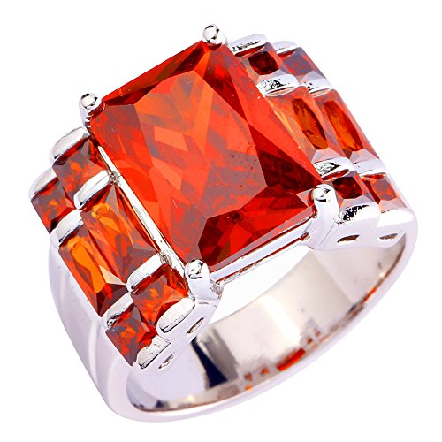 Psiroy Created Garnet Wide Band Statement Ring for Women