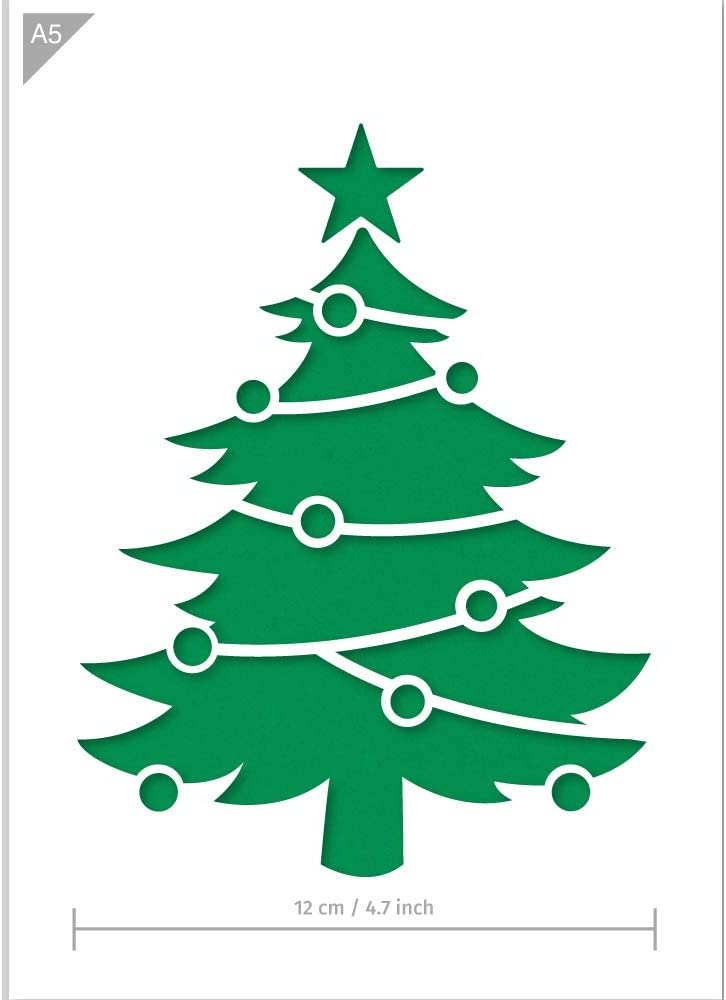 Christmas Tree Stencil - A5 Size - Christmas Decoration - Reusable Kids Friendly Stencil for Painting, Windows, Crafts, Wall, Furniture