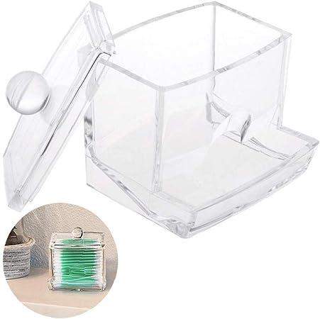 fedsjuihyg 1PC Claro Qtip Esponja de algodón Dispensador Organizador de acrílico Caja de hisopos de algodón Titular de baño Jar Claro Organizador para Bolas de algodón, Hisopos, Q-Tips: Amazon.es: Hogar