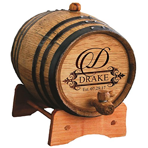 Barrel Custom (Custom Engraved Oak Whiskey or Wine Barrel - 3 Liter - Personalized for Free with Fancy Design)
