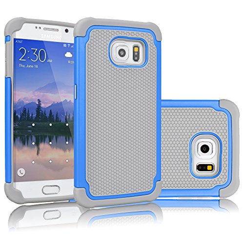 Tekcoo for Galaxy S6 Case, [Tmajor Series] [Blue/Grey] Shock Absorbing Hybrid Rubber Plastic Impact Defender Rugged Slim Hard Case Cover Shell for Samsung Galaxy S6 S VI G9200 GS6 All Carriers