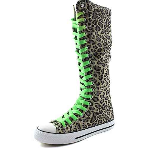 DailyShoes Womens Canvas Mid Calf Tall Boots Casual Sneaker Punk Flat, Leopard Boots, Grassy Green Lace