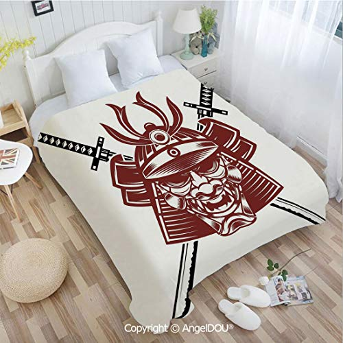 AngelDOU Printed Lightweight Throw Blanket W72 xL78 Samurai Face with Crossed Swords Ancient Knight Helmet Decorative Sofa Bedding Blankets Bed Cover.