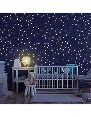 Homery Stjärnhimmel 300 självlysande stjärnor självhäftande med stark luminositet, fluorescerande lysande stjärnor väggtatuering & väggdekoration klistermärken för baby, barn eller sovrum (punkter)