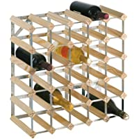 RTA 30 Bottle Wine Rack 5x5 Natural Pine Galvanised Steel Ready To Assemble - WINE0100
