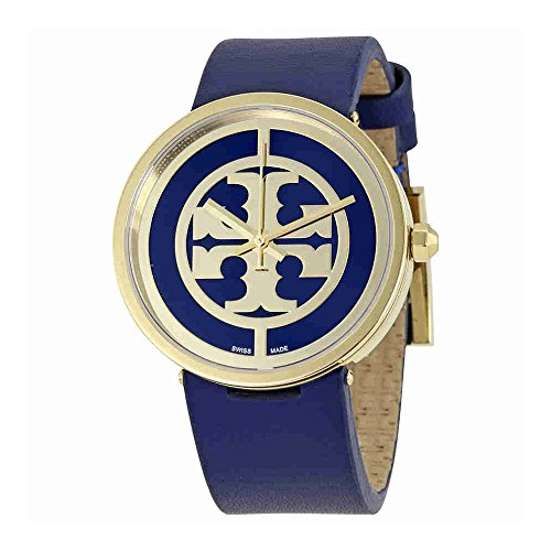 Tory Burch Women's The Reva Leather Watch, Gold/Navy, One - Burch Reva