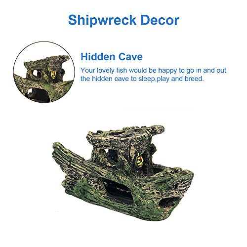 GreenJoy Aquarium Decorations Accessories Shipwreck Plastic Plants Cave - 11 Pack Fish Tank Decorations Set with Resin Tree Trunk House Ship Hideouts Artificial Plastic Plants and Coral Small Kit