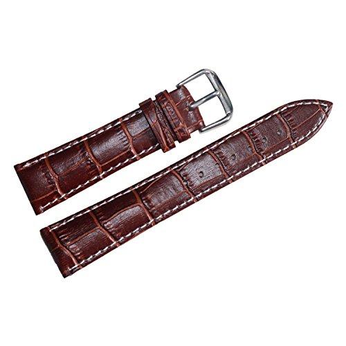 Men's Dark Brown Replacement Watch Strap 22mm Alligator Grain Leather with Contrast White - Watch Genuine Alligator Brown Strap