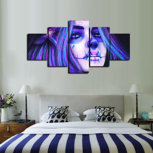 Day of the Dead Face Wall Art Animated Tattoo Girls Painting 5 Panel Modern Posters and Prints Saints Day Halloween Canvas Pictures for Living Room,Home Decor Gallery-wrapped -