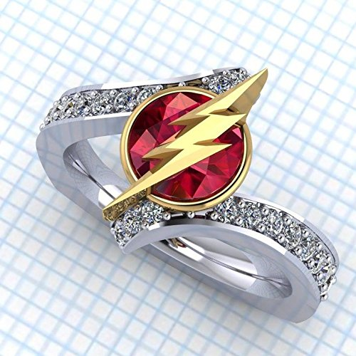 Chopard Jewelry Ring - Geeky Pokemon Pokeball Flash Flashy Ruby Diamond 925 Sterling Silver Geek Women Valentine Love Engagement Wedding Ring,All US Size 4-12 available,message us your ring size