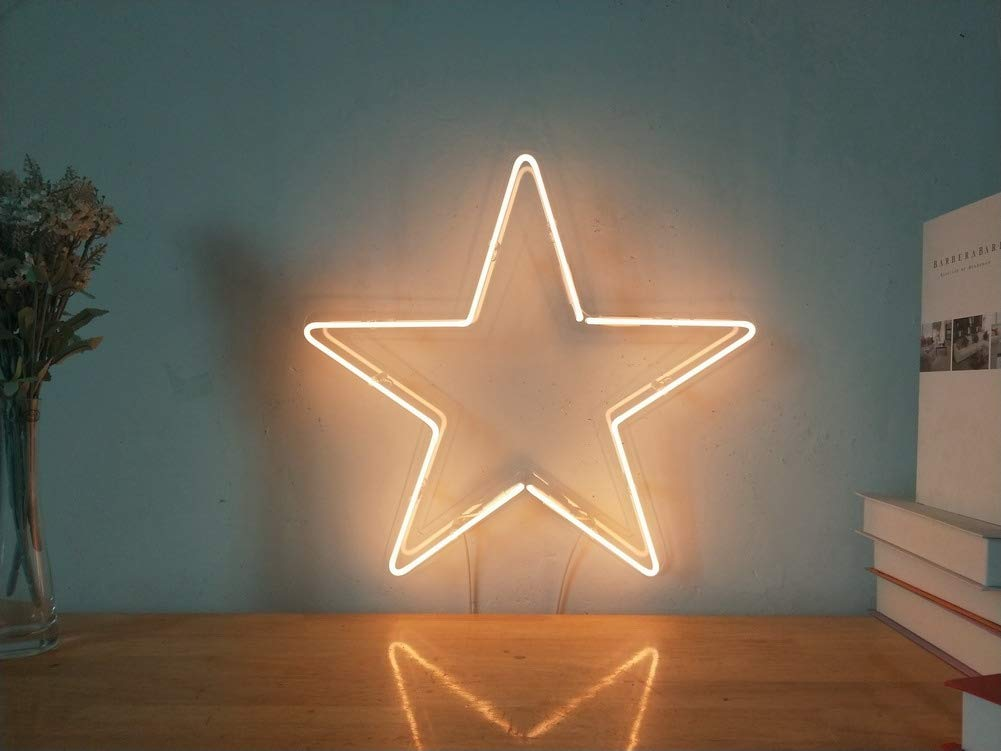 Five-pointed Star Real Glass Neon Sign For Bedroom Garage Bar Man Cave Room Home Decor Handmade Artwork Visual Art Dimmable Wall Lighting Includes Dimmer