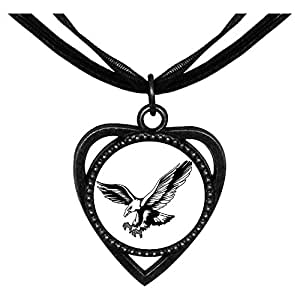Chicforest Bronze Retro Style Flying Mighty Eagle Heart Shaped Pendant