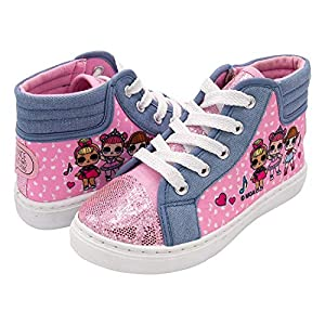 LOL Surprise! Girls High Top Sneakers, Pink Girls Shoes with Glitter